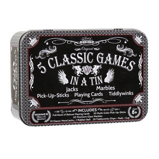 Westminster 5 Classic Games in a Tin - Jacks, Marbles, Pick-up-Sticks, Playing Cards, Tiddlywinks