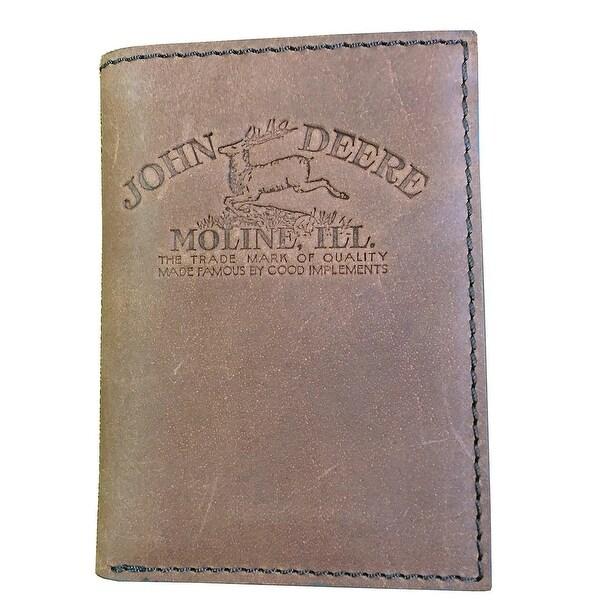 John Deere Western Wallet Mens Trifold Vintage Brown - One size