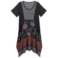 Women's Colorblock Floral Tunic Dress - Black/Gray Short Sleeve Long Fit Top