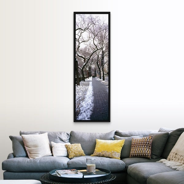 """""""Walkway in a park, Central Park, Manhattan, New York City, New York"""" Black Float Frame Canvas Art. Opens flyout."""