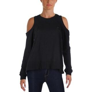 Aqua Womens Sweater Distressed Cold Shoulder