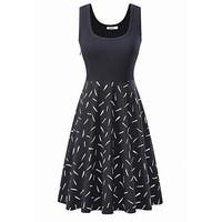 Kira Black White Women's Size Large L Seamed Geo-Printed A-Line Dress