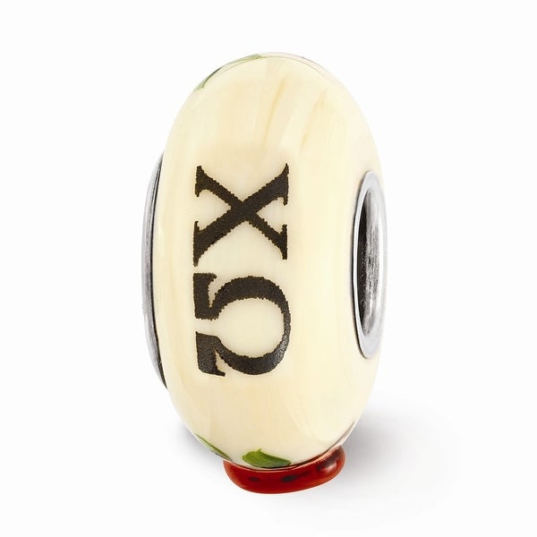 Sterling Silver Reflections Ivory Hand Painted Chi Omega Glass Bead