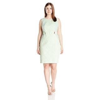 Calvin Klein Plus Size Sleeveless Jacquard Sheath Dress
