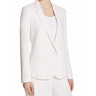 Theory NEW Cream White Women's Size 12 Single Button Crepe Blazer