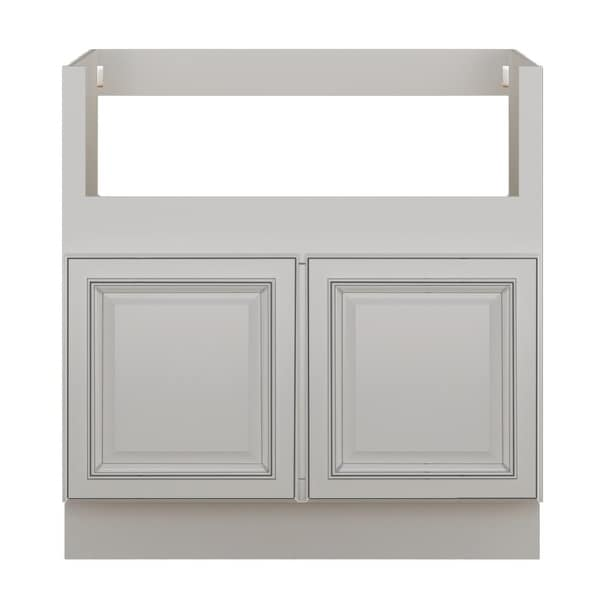 """Sunny Wood SLB33FS-A Sanibel 33"""" Wide x 34-1/2"""" High Double Door Base Cabinet - Off White with Charcoal Glaze"""
