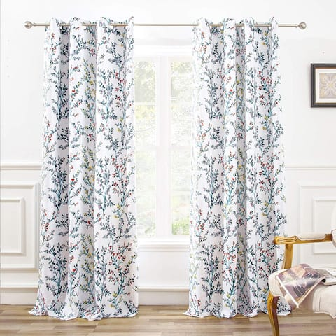 DriftAway Jasmine Watercolor Flower Blackout Window Curtain Panel Pair