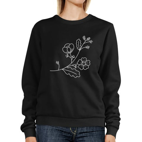 Flower Unisex Sweatshirts Flower Printed Pullover Fleece For Her