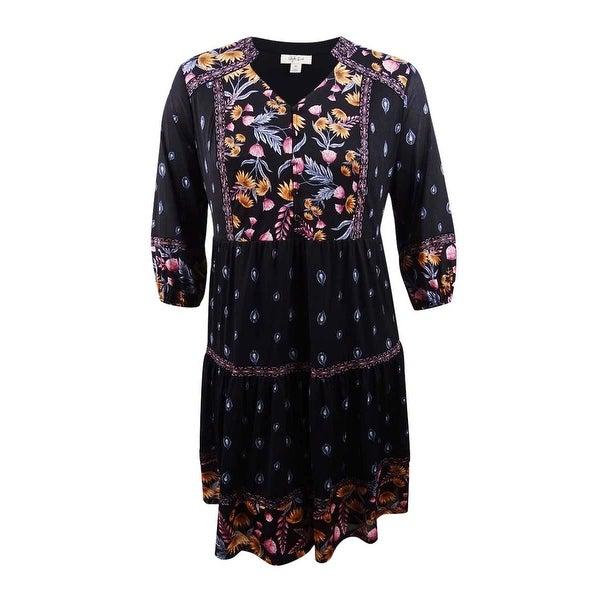 Style & Co. Women\'s Plus Size Mixed-Print Peasant Dress - Black Harvest