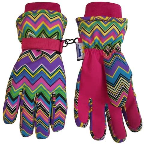 NICE CAPS Women's Waterproof Bulky Winter Glove with Chevron Print