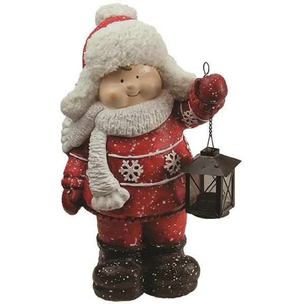 "16.50"" Christmas Morning Winter Boy Holding Tealight Lantern Decorative Christmas Tabletop Figure"