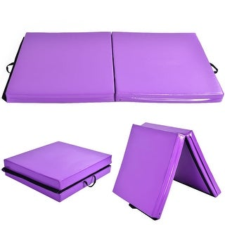 Costway 6''x38''X4'' Thick Two Folding Panel Gymnastics Mat Fitness Exercise Purple