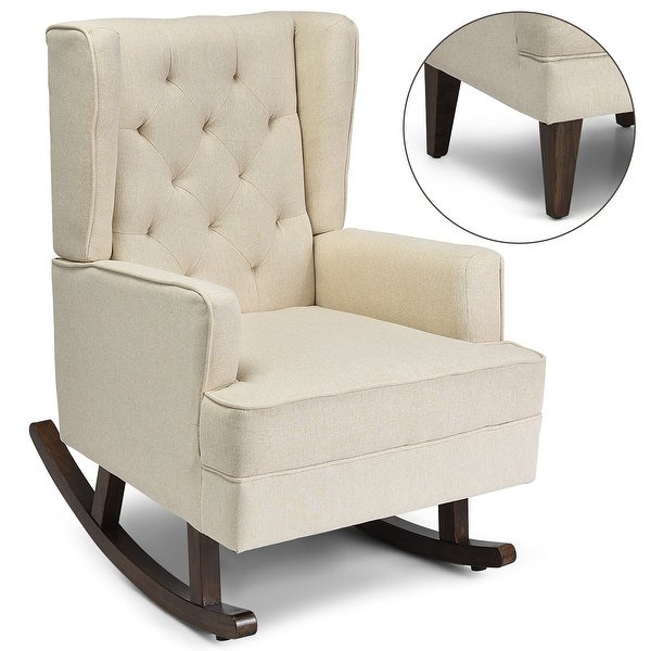 Costway 2 in 1 Tufted Rocking Chair Wingback Lounge Leisure ArmChair Fabric Rocker Beige