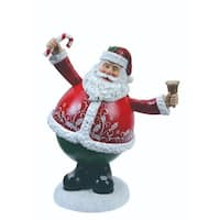 """Pack of 2 Musical Waving Santa Claus Christmas Table Top Figures 8.5"""" - WHITE"""
