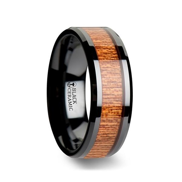 BENIN Black Ceramic Wedding Band with Polished Bevels and African Sapele Wood Inlay