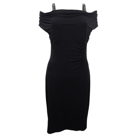 Connected Women's Plus Size Ruched Cowl-Neck Ruched Dress (16W, Black) - Black - 16W