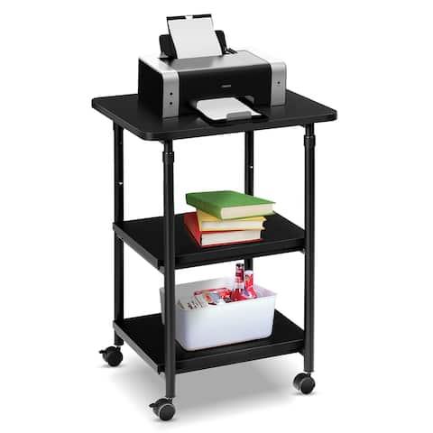 3-Tier Adjustable Printer Stand Rolling Printer Cart Storage Rack