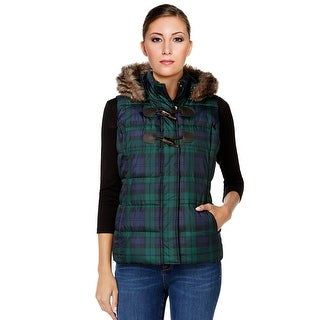 Charter Club Faux Fur Trim Puffer Jacket Vest - M