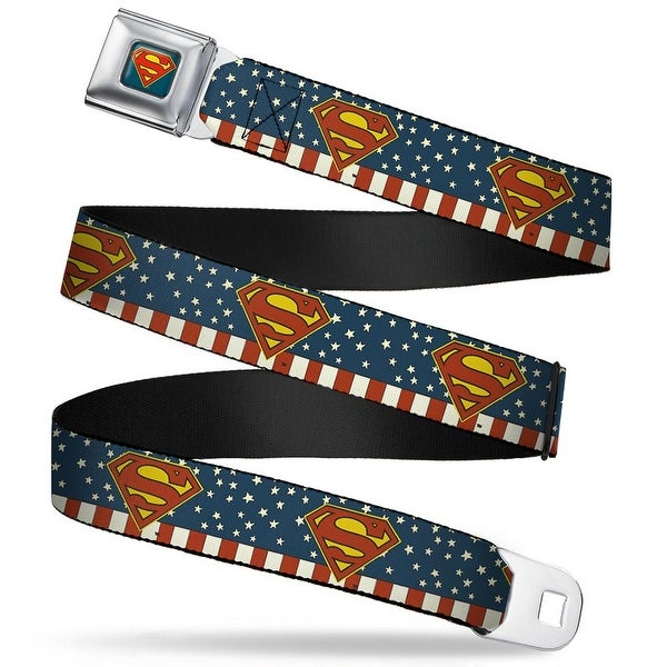 Superman Shield Full Color Americana Blue Superman Shield Americana Red Seatbelt Belt