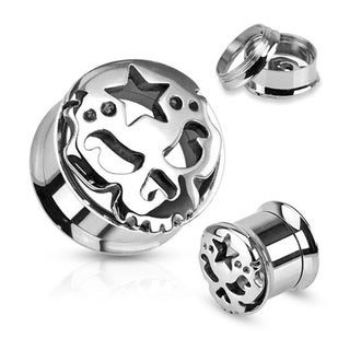 Carved Skull with Star 316L Surgical Steel Screw Fit Tunnel (Sold Individually) (More options available)