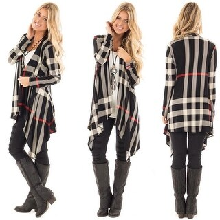 Plaid Print Long Sleeve Draped Open Front Cardigan