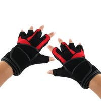 BOODUN Authorized Men PU Leather Workout Half Finger Fitness Gloves Red S Pair