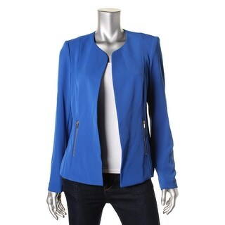Calvin Klein Womens Crepe Solid Open-Front Blazer