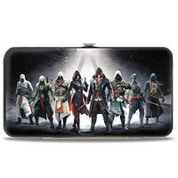 8 Assassins Group Pose + Assassin's Creed Crest Black Gray White Red Hinged Hinge Wallet - One Size Fits most
