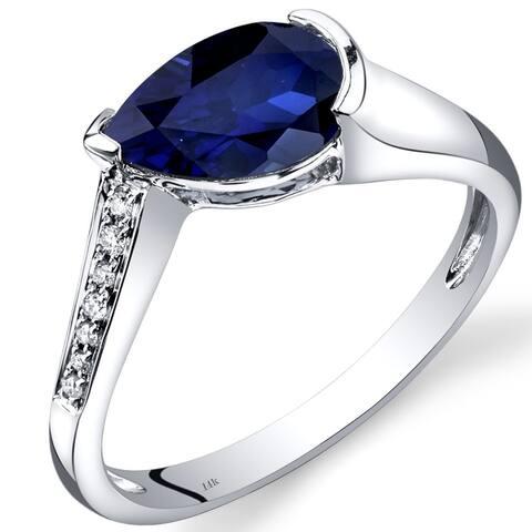 14 Karat White Gold Created Blue Sapphire Diamond Ring 1.54 Carats