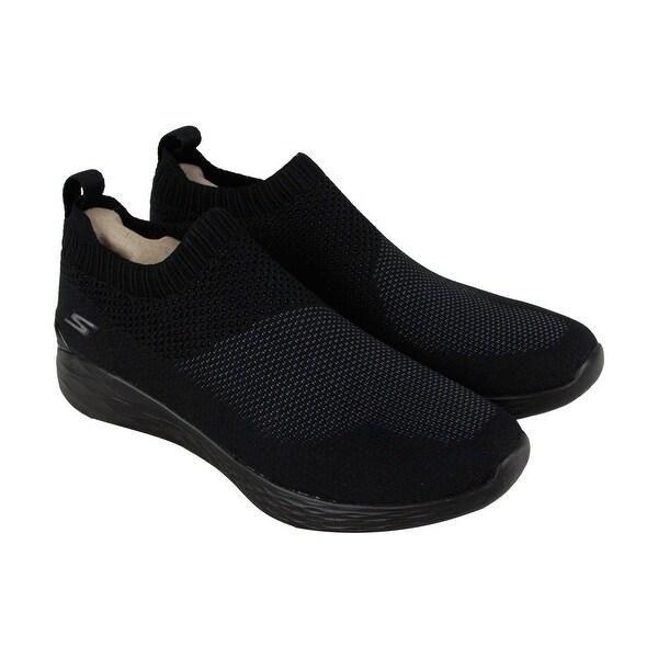 Skechers Go Strike Mens Black Textile Athletic Slip On Running Shoes