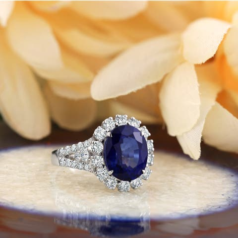 Auriya 18k Gold 5 3/8ct Oval Sapphire Halo Diamond Engagement Ring 4/5ct TDW