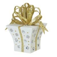 "3"" Christmas Whimsy Gold & White Glitter Polka Dot Christmas Tree Ornament"