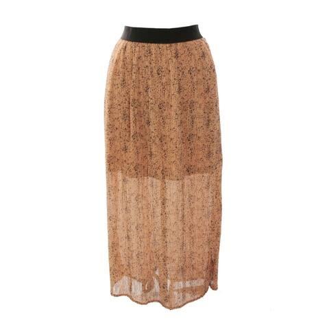 Bar Iii Salmon Dot-Print Pleated Maxi Skirt M