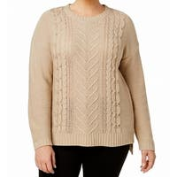 NY Collection Beige Women's 3X Plus Cable Knit Crewneck Sweater