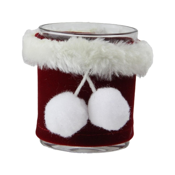 "3.25"" Red with White Faux Fur Santa Claus Inspired Tea Light Candle Holder"