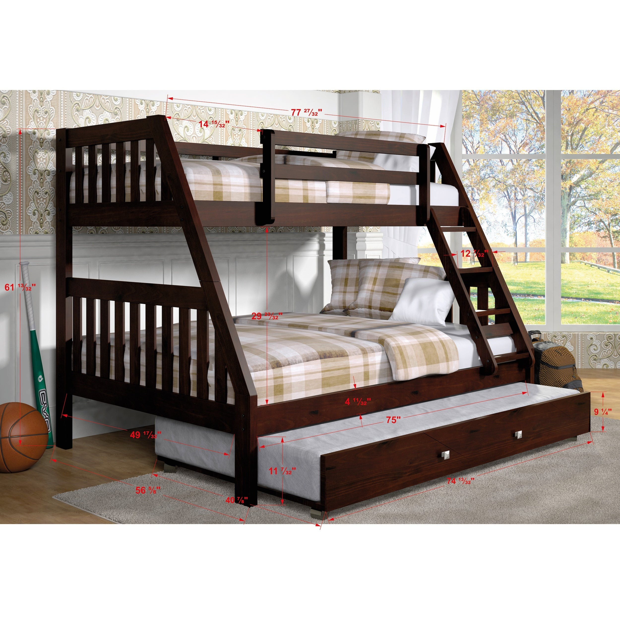 Shop Donco Kids Mission Style Dark Cappuccino Twin Over Full Bunk Bed With Trundle Bed Overstock 13751398