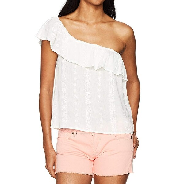 BCX White Size Medium M Junior Embroidered One-Shoulder Blouse