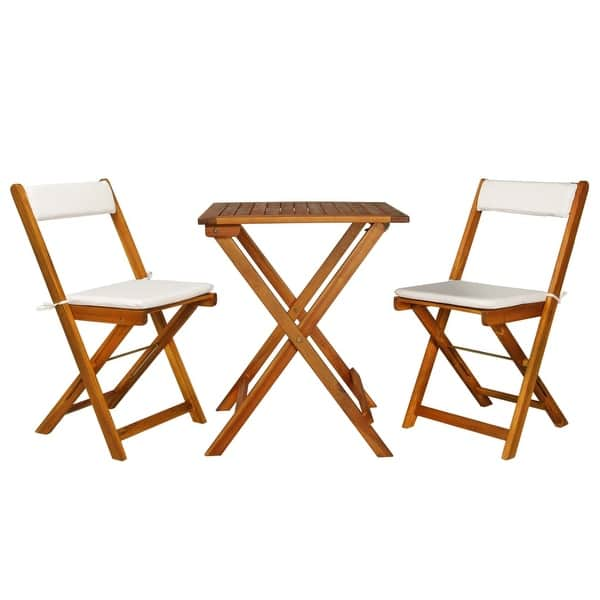 Vidaxl 3 Piece Folding Bistro Set With Cushions Solid Acacia Wood Overstock 27316235