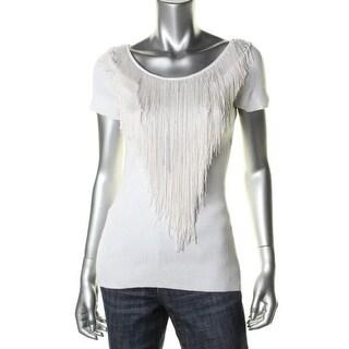Catherine Malandrino Womens Beaded Fringe Pullover Sweater - S