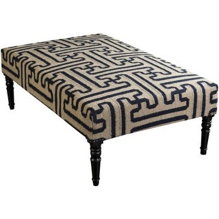 """52"""" Light Beige and Navy Blue Upholstered Wool and Wooden Foot Stool Ottoman"""
