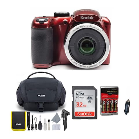 KODAK PIXPRO AZ252 Astro Zoom Digital Camera (Red) Bundle