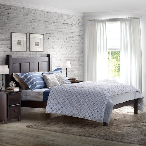 Grain Wood Furniture Shaker Panel Queen Solid Wood Platform Bed