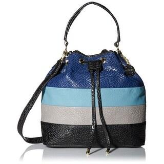 Rosetti NEW Blue Grey Black PVC Colorblock Stripe Bucket Shoulder Bag
