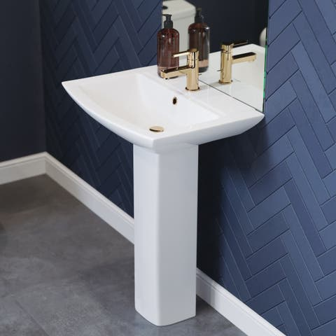 Sublime Pedestal Bathroom Sink Square Single Faucet Hole