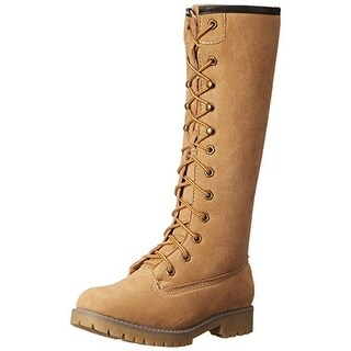 Madden Girl Womens Yumi Motorcycle Boots Faux Fur Lined Knee High