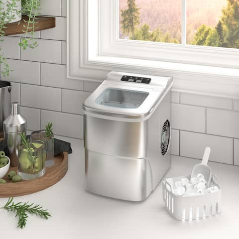 Countertop Portable Ice Maker Machine - 9 Ice Cubes Ready in 6 Mins - Makes 26 lbs Ice in 24 hrs - Electric Ice Making Machine