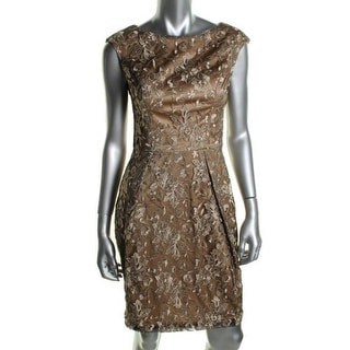 Sue Wong Womens Embroidered Metallic Cocktail Dress