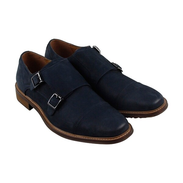 Steve Madden Benin Mens Blue Leather Casual Dress Strap Oxfords Shoes