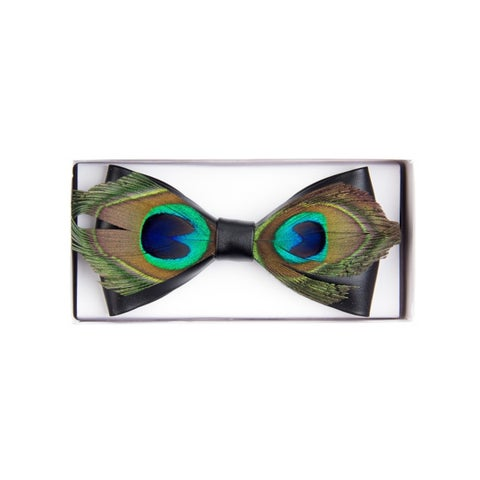 Men's Novelty Feather Banded Bow Tie - One size