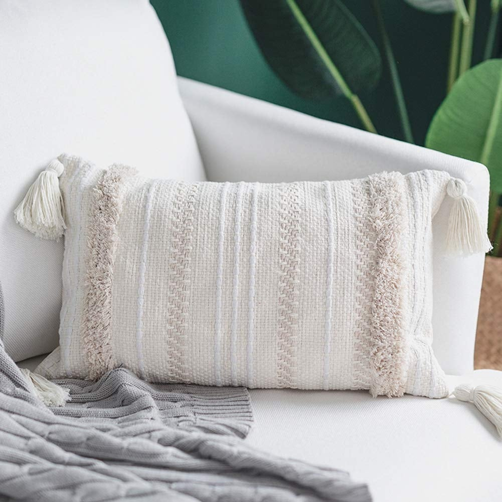 rectangle pillows cover with tassels 12x20 inch cream
